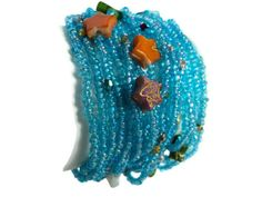 Blue Hawaii Bracelet MultiColored Beads And Stones by Lunarpearl, $17.00