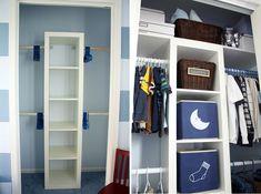 9 Хранение Идеи для малых шкафов // Наличие стержней на разной высоте позволяет повесить больше вашей одежды, что позволяет разместить больше внутри, и сохраняет их более заметными, чем если бы они хранились в ящиках.