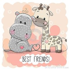 Cute Cartoon Hippol and Giraffe