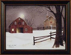 A Light In The Stable by Billy Jacobs 15x19 Red Barn Full Moon Stone House Snow Snowing Winter Christmas Framed Folk Art Print Picture ** Be sure to check out this awesome product.