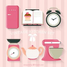 Vintage kitchen set Premium Vector