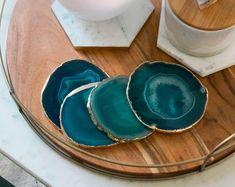 TEAL agate coasters. gem coasters. stone coasters. drinkware coaster set. home decor. bar coasters. housewarming gift.