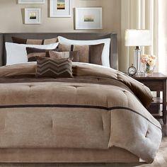Tan Chocolate Brown Striped Comforter King Set Dark Taupe Color
