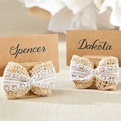 Burlap Bow Place Card Holder (Set of Aspen-Time to celebrate that new little one in your life! Whether you're throwing your rustic charm baby shower in your best friend's backyard, or are holding it in an elegant restaurant, you'll want to ma Rustic Wedding Centerpieces, Flower Centerpieces, Wedding Favors, Wedding Gifts, Wedding Souvenir, Wedding Ideas, Wedding Advice, Bridal Gifts, Wedding Invitation