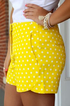 On Point Polka Dot Shorts - Yellow from UOI Boutique. Saved to Epic Wishlist. Shop more products from UOI Boutique on Wanelo. Spring Summer Fashion, Spring Outfits, Summer 2015, Preppy Style, My Style, Polka Dot Shorts, Polka Dots, Yellow Fashion, Weekend Wear