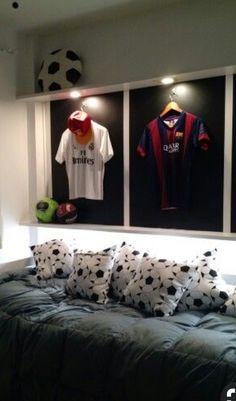 Ideas For Kids Room For Boys Football Soccer Room Decor, Boys Room Decor, Boy Room, Boys Football Bedroom, Football Rooms, Bedroom Themes, Kids Bedroom, Bedroom Decor, Bedroom Ideas