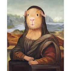 Mona Lisa Guinea Pig Print, Guinea Pig Art, Animals in Clothes Guinea Pig Costumes, Guinea Pig Clothes, Pet Clothes, Baby Guinea Pigs, Guinea Pig Care, Baby Animals, Funny Animals, Cute Animals, Mona Lisa