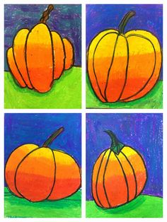 1st graders made these fabulous pumpkins! We did a quick drawing with sharpie markers (no erasing) and colored in with oil pastels. We sta...