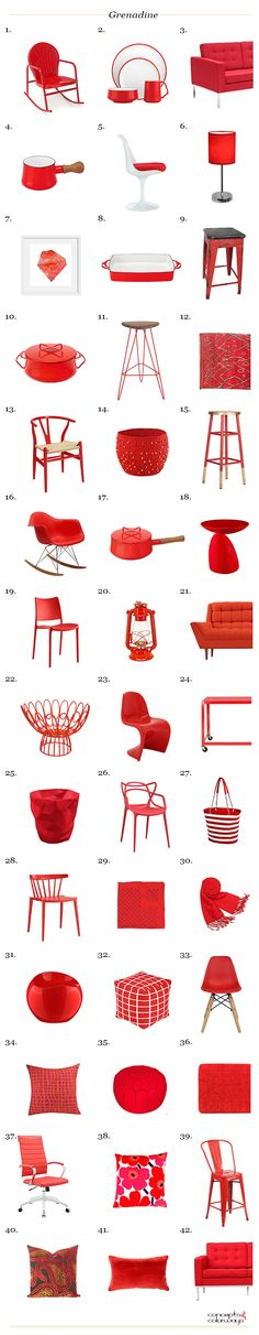 pantone grenadine, interior design product roundup, bright red interior design inspiration, interior styling ideas, color for interiors, bright red, get the look