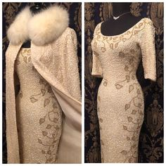 SOLD // SET ( coat/dress) Stunner Bombshell Designer Gene Shelly sequined beaded vintage dress a siz Elegant Chic, Coat Dress, White Christmas, Vintage Looks, Winter Coat, Vintage Fashion, Wedding Dresses, Vixen, How To Wear