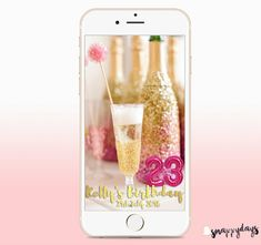 Custom Snapchat Filter with PINK BALLOONS Birthday by SnappyDaysCo