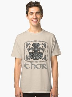 'Thor Celtic God' Classic T-Shirt by KrasiStaleva Chor, Sell Your Art, Neck T Shirt, Fabric Weights, Celtic, Classic T Shirts, Shirt Designs, Mens Tops, Stuff To Buy