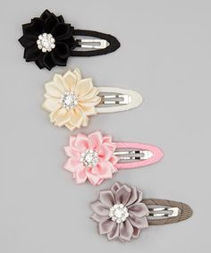 Look at this Charlotte Rose Couture Ivory & Pink & Gray Rhinestone Flower Hair Clip Set on #zulily today!