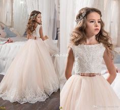 free shipping, $69.65/piece:buy wholesale  custom made flower girl dresses for wedding blush pink princess tutu sequined appliqued lace bow 2017 vintage child first communion dress floor-length,reference images,girl on sweet-life's Store from DHgate.com, get worldwide delivery and buyer protection service.
