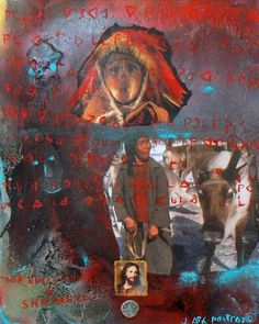 Looking After My Herd Mixed Media on Canvas by Jane Ash Poitras Kunst Der Aborigines, Robert Rauschenberg, Native American Artists, Aboriginal Art, Mixed Media Canvas, First Nations, Photomontage, Nativity, Graffiti