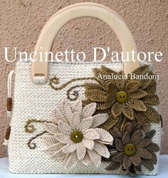 Flowered Crocheted hand bag