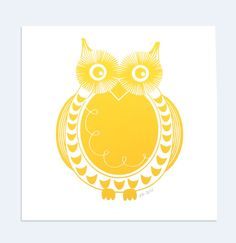 Round Owl  Woodland Nursery Art  Handprinted on Paper by skartshop, $24.00