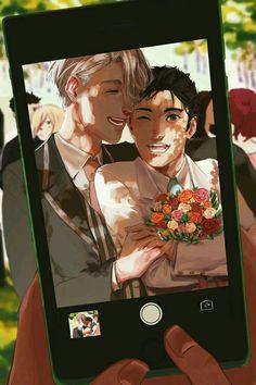 """Most of their wedding photos come from Phichit I'm sure :D"" Love On Ice, ユーリ!!! On Ice, Otaku, Yuri On Ice Comic, Viktor Nikiforov, Art Zine, Yuri Katsuki, Makoharu, Gifs"