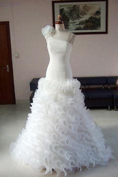 2014 Wedding Dress One Shoulder Ruffles Wedding Gowns by AIJIAYI, $229.00