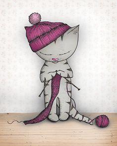 Cat Art Print  - Percy Knits - A4 Fine Art Print cute cat print cat art