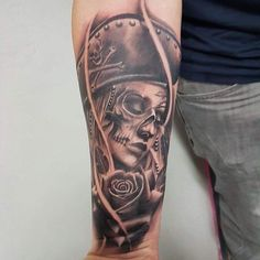 Dead pirate lady face by @bencartertattoos at Divine Art Tattoo Studio. #tattoo #tattooartist #bournemouthtattoo #pooletattoo #bournemouth #poole #realismtattoo #realistictattoo #bestrealistictattoos #portraittattoo #skulltattoo #piratetattoo #blackandgreytattoo