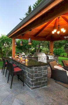 Modern outdoor kitchen and grill station in the backyard garden (10) #outdoorkitchengrillgardens