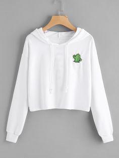 #ROMWE - #ROMWE Drop Shoulder Slogan Embroidered Back Hoodie - AdoreWe.com
