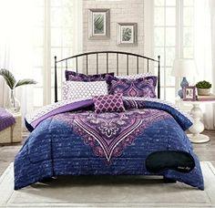 Amazon.com: New! Boho Chic Blue Purple Teen Girls Paisley Medallion Damask Comforter, Shams, Sheet Set, Toss Pillow +BONUS Home Style Sleep Mask! (9 Pc. Bedding Bundle) (Queen): Home & Kitchen