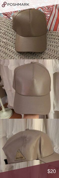 Beige Faux Leather Baseball Cap Faux Leather Cap!  Very Kylie Jenner circa blue wig!!  Worn 1-2 max!   Perfect condition Olive & Pique Accessories Hats