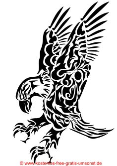 Tiere Tattoo Bild Vogel Adler schwarze Tattoovorlage black Tattoopicture Bird Eagle Tribal Art Tattoomotive