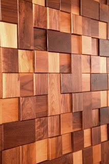 Up-cycled and re-claimed handmade wood wall tiles. Love the texture! Wood Wall Tiles, Wooden Walls, Wood Wall Art, Into The Woods, Wall Cladding, Wall Treatments, Handmade Furniture, Wood Blocks, Wood Design