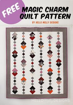 FREE Magic Charm Quilt Pattern- Uses ONE charm pack + accent fabric! Charm Pack Quilt Patterns, Charm Pack Quilts, Charm Quilt, Modern Quilt Patterns, Quilt Block Patterns, Quilt Blocks, Owl Patterns, Modern Quilting, Owl Quilts