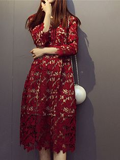 Shop Lace Floral Hollow Out V-Neck Smart Waist Dresses