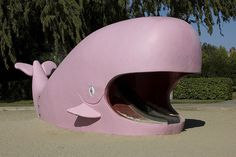 Concrete pink whale