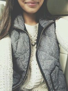 White sweater and herringbone vest