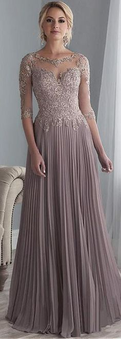 Exquisite Tulle & Chiffon Scoop Neckline Floor-length A-line Mother Of The Bride Dresses With Beaded Lace Appliques