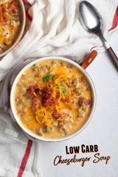 Craving a cheeseburger on your low carb or keto diet? Satisfy that taste with this Low Carb Cheeseburger Soup recipe. It's a keto-friendly comforting meal that the whole family will love. Mug Recipes, Low Carb Recipes, Great Recipes, Delicious Recipes, Recipe Ideas, Easy Recipes, Frugal Meals, Easy Meals, Cheese Burger Soup Recipes