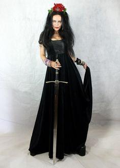 Moonmaiden Gothic Clothing - Lady Boleyn Gown - steamed velvet tudor goth dress