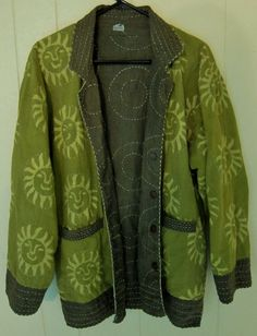 Reversible Cotton Quilted Coat Jacket Women's L XL Green Boho Handstitch India  #Unbranded #BasicJacket