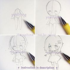 How I start my chibi drawings. I am using a HB lead pe. How I start my chibi drawings. I am using a HB lead pencil. I draw body first because then it is easier to control the head-to body ratio fo. Chibi Eyes, Chibi Hair, Anime Pokemon, Anime Chibi, Kawaii Drawings, Cute Drawings, Easy Chibi Drawings, Manga Drawing, Drawing Sketches