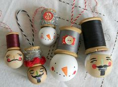 nutcracker spool head ornament by noodleandlou on Etsy