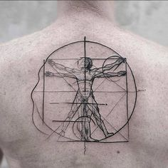 The Vetruvian Man Chaotic Blackwork Tattoo by Frank Carrilho FrankCarrilhoTattoo FrankCarrilho Chaotic Black Blackwork Vetruvianman Line Tattoos, Word Tattoos, Body Art Tattoos, Tattoos For Guys, Tatoos, Vitruvian Man Tattoo, Arm Tattoo, Sleeve Tattoos, Black And Grey Tattoos For Men