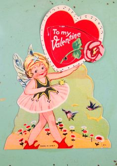 Vintage 1930's Die Cut Valentine's Card w/ Fairy & Birds - Mechanical. $16.00, via Etsy.