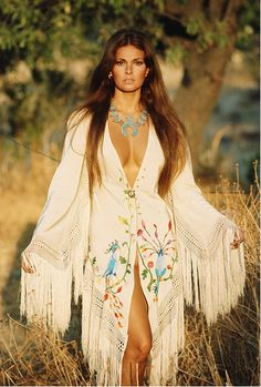 Valentino's take on Native American glam  worn on Raquel Welch