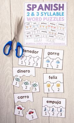 Multisyllabic words are tough to produce for many students with communication disorders. The puzzles are a great visual for students to think about linking up syllables to make a word. Kids can cut the puzzles out, then put them together, and repeat each word. This resource can also be sent home for further practice with parents who speak Spanish. TWO SYLLABLE WORD PUZZLES (21 pages) THREE SYLLABLE WORD PUZZLES (25 pages) With four pictures per page, it's total of 184 quarter-page puzzles!