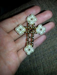 Glass pearl & gold beaded cross