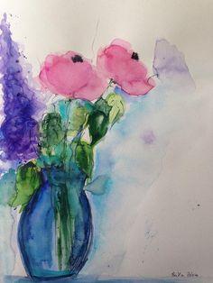 ORIGINAL AQUARELL Aquarellmalerei Bild Unikat Blumenstrauß