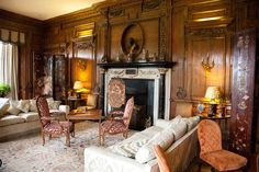 Wood paneled Thorpe Hall Drawing Room at Leeds Castle, remodeled by Lady Baillie in the Maidstone, Kent, England, UK