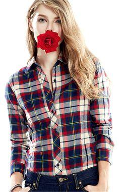 BOJIN Women's Boyfriend Large Size Cotton Long Sleeve Basic Classic Plaid Blouse at Amazon Women's Clothing store: