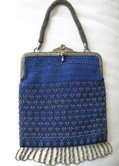 Antique Victorian Edwardian Frame Blue Crochet Gold Steel Beaded Handle Purse #EveningBag